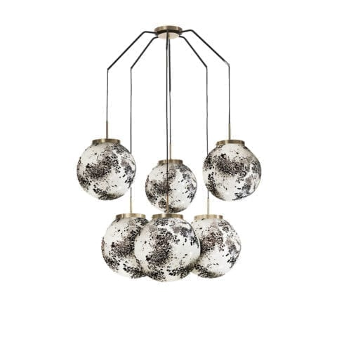 Ceiling Lamp King Sun Murano x6 Black And White