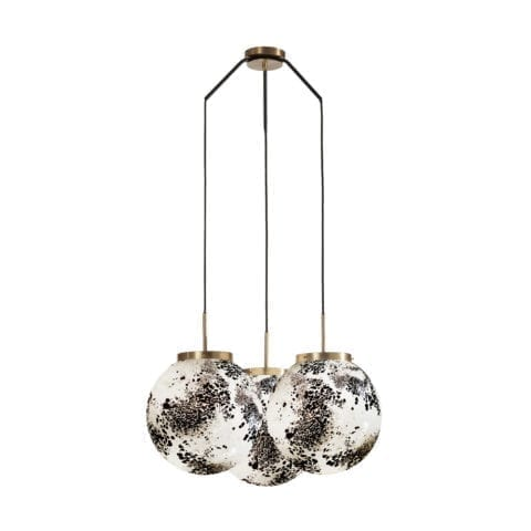 Ceiling Lamp King Sun Murano x3 Black And White