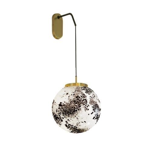 Wall Lamp King Sun Murano Black And White