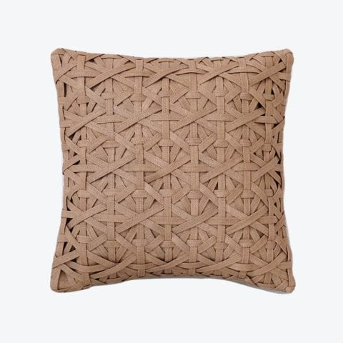 Diamond Small Weave Camel Cushion Cover