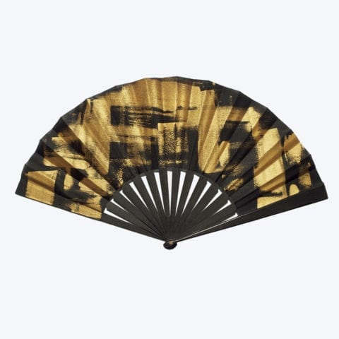 Black Golden Square Hand-Fan