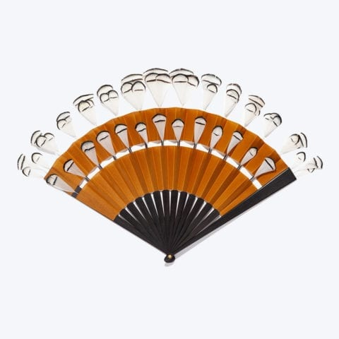 Gold, Ivory and Black Pampille Cabriolet Hand-Fan
