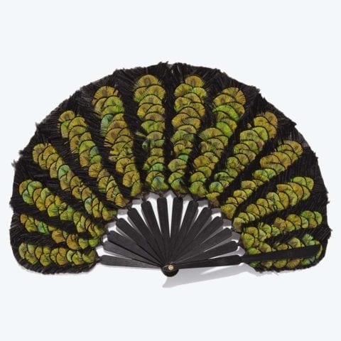 Green Feather Balloon Hand-Fan
