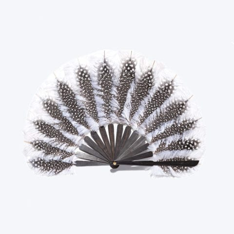 Ivory and Black Feather Balloon Fan