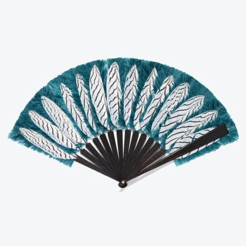 Pigeon Bleu Graphic Feathers Hand-Fan