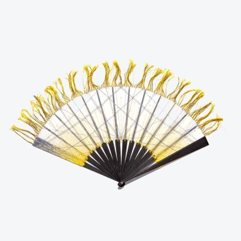 Yellow and Black Pigment Hand-Fan